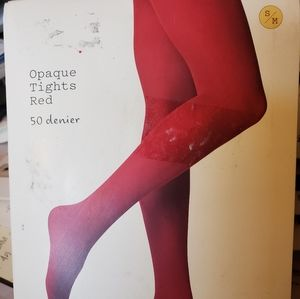NWT Opaque Red Tights